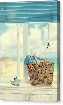 Venetian Blinds Canvas Print - A Day At The Beach by Amanda Elwell