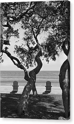A Day At The Beach Bw Canvas Print by Mike McGlothlen