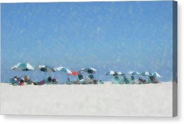 Canvas Print featuring the digital art A Day At The Beach by Ellen Barron O'Reilly