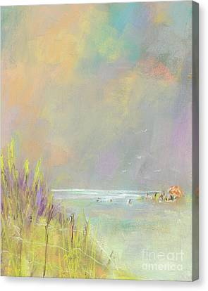 Canvas Print featuring the painting A Day At The Beach by Frances Marino