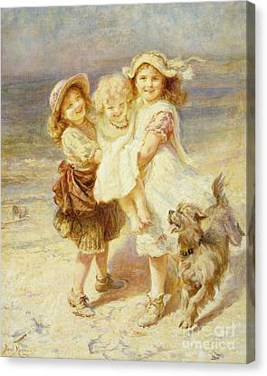 A Day At The Beach Canvas Print by Frederick Morgan