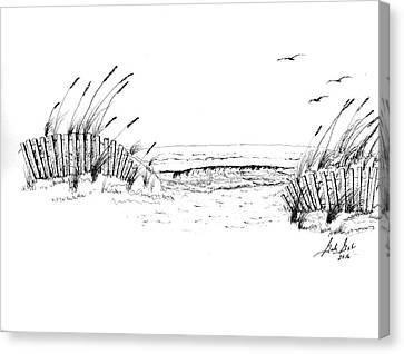 Sand Fences Canvas Print - A Day At The Beach by Gordan Graham