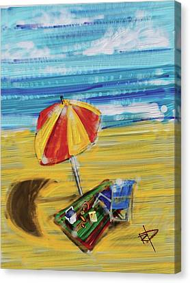 A Day At The Beach Canvas Print by Russell Pierce