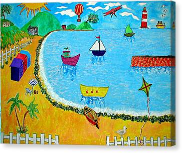Airoplane Canvas Print - A Day At The Seaside by Sandy Wager