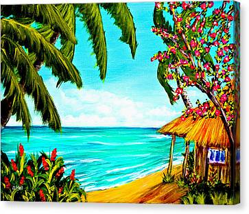 A Day In Paradise Hawaii Beach Shack  #360 Canvas Print by Donald k Hall