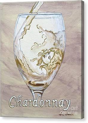 A Day Without Wine - Chardonnay Canvas Print by Jennifer  Donald