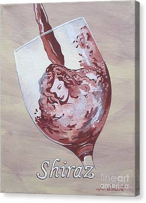 A Day Without Wine - Shiraz Canvas Print by Jennifer  Donald