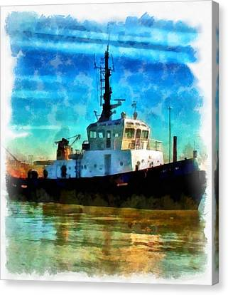 A Digitally Constructed Painting Of A Tugboat In Aquarelle Style Canvas Print by Ken Biggs
