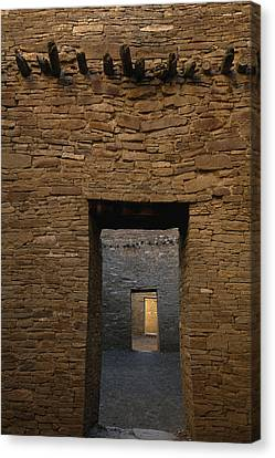 A Doorway And Walls Inside Pueblo Canvas Print by Bill Hatcher