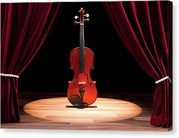 A Double Bass On A Theatre Stage Canvas Print by Caspar Benson