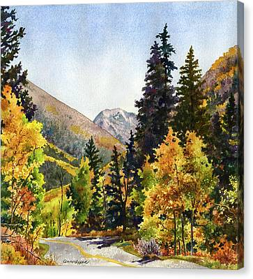 Canvas Print featuring the painting A Drive In The Mountains by Anne Gifford