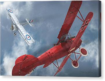 A Duel Begins - The Red Baron Canvas Print by David Collins