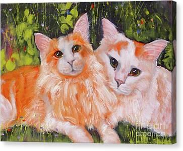 Litter Mates Canvas Print - A Duet Of Kittens by Susan A Becker