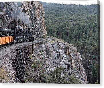 Canvas Print featuring the photograph A Durango And Silverton Narrow Gauge Scenic Railroad Train Along A San Juan Mountains Precipice by Carol M Highsmith