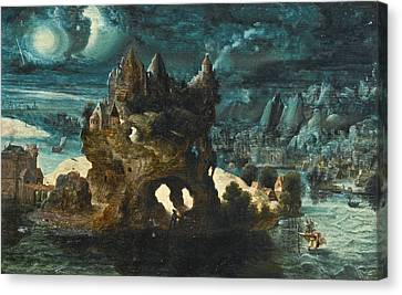 A Fantastical Moonlit Landscape With Saint Christopher Carrying The Christ Child Across A River Canvas Print by Herri met de Bles