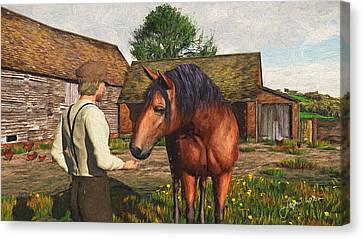 Canvas Print featuring the digital art A Farmer And His Horse by Jayne Wilson