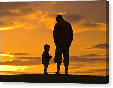 A Father And His Baby Son Watch Canvas Print by Jason Edwards