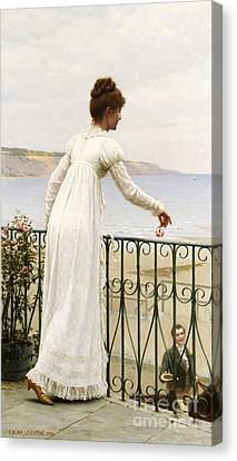 Dates Canvas Print - A Favour by Edmund Blair Leighton