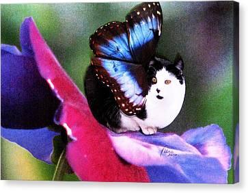 A Feline Fairy In My Garden Canvas Print by Angela Davies