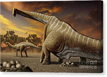 A Female Apatosaurus Laying Her Eggs Canvas Print by Mohamad Haghani