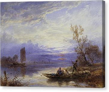 A Ferry At Sunset Canvas Print by Myles Birket Foster