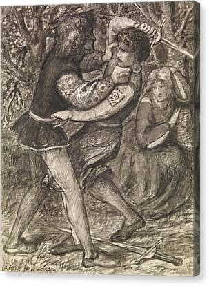 A Fight For A Woman  Canvas Print by Dante Gabriel Rossetti