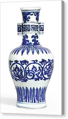 A Fine And Rare Blue And White 'arrow' Vase Mark And Period Of Wanli Canvas Print