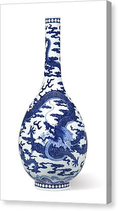 A Fine Blue And White 'dragon' Bottle Vase Qing Dynasty, Qianlong Period Canvas Print