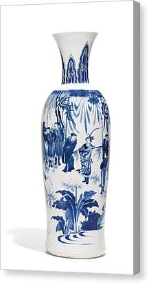 A Fine Blue And White Vase Ming Dynasty, Chongzhen Period Canvas Print