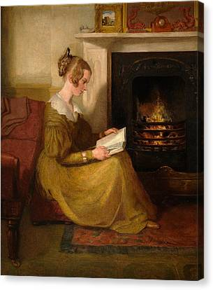 A Fireside Read Canvas Print by William Mulready
