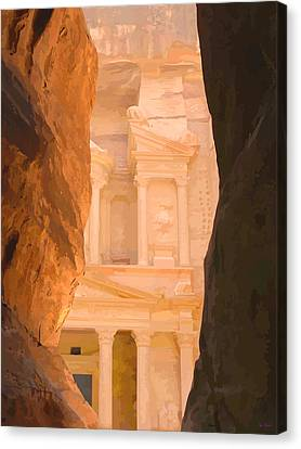 Petra Canvas Print - A First Glimpse Of The Treasury, Petra by Brian Shaw