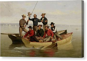 Founding Fathers Canvas Print - A Fishing Party Off Long Island Metal by Junius Brutus Stearns