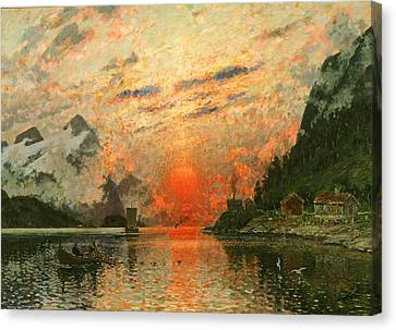 Snow-covered Landscape Canvas Print - A Fjord by Adelsteen Normann