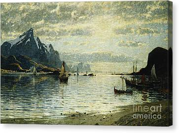 A Fjord Scene With Sailing Vessels Canvas Print
