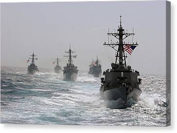 St George Canvas Print - A Fleet Of Ships In Formation At Sea by Stocktrek Images