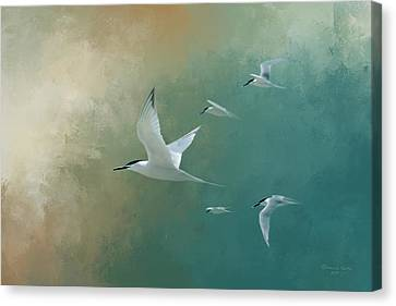 Seabird Canvas Print - A Flight Of Terns by Marvin Spates