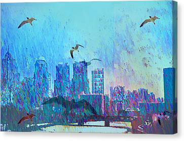 A Flock Of Seagulls Canvas Print by Bill Cannon