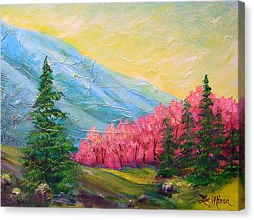 Canvas Print featuring the painting A Florid View Of The Blue Ridge by Lee Nixon