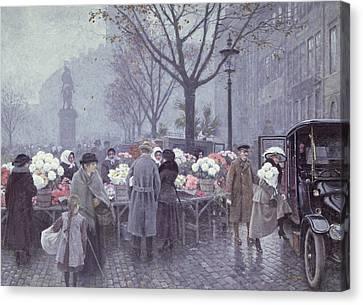 A Flower Market Canvas Print by Paul Fischer