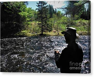 A Flyfisher Canvas Print by Skip Willits