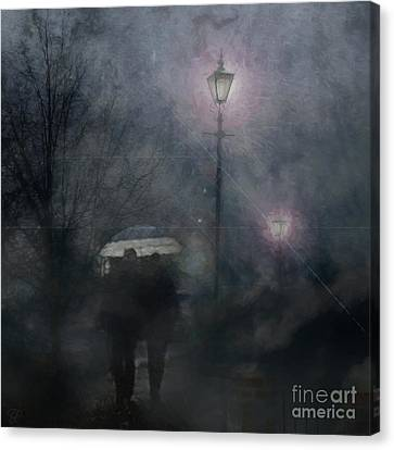 Canvas Print featuring the photograph A Foggy Night Romance by LemonArt Photography