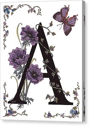 A For Anemone And Azure Streak Butterfly Canvas Print by Stanza Widen