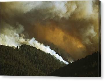 A Forest Fire Burns In Little Bear Canvas Print by Gordon Wiltsie