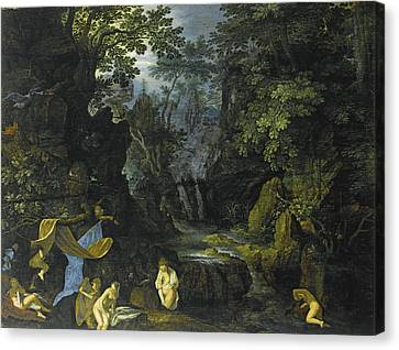 A Forest Landscape With Bathing Nymphs And Leda And The Swan Canvas Print by Roelandt Savery