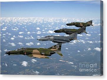 A Formation Of F-4 Phantom II Fighter Canvas Print by Stocktrek Images