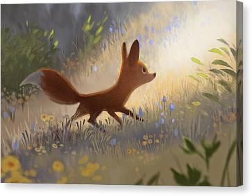 A Fox In The Flowers Canvas Print by Janna Mattia