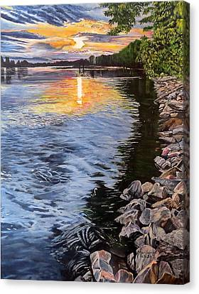 A Fraser River Sunset Canvas Print