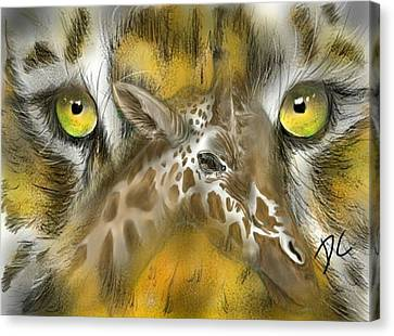Canvas Print featuring the digital art A Friend For Lunch by Darren Cannell