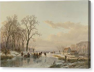 A Frozen Canal In The Meuse Canvas Print by Andreas Schelfhout