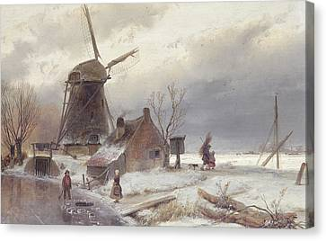 A Frozen River Landscape With A Windmill Canvas Print by Andreas Schelfhout